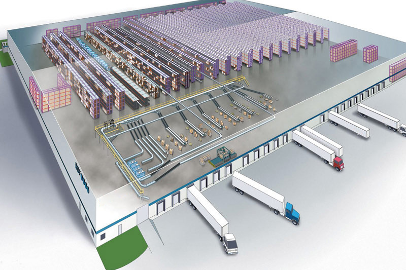 Material Handling System Warehouse Birdseye View